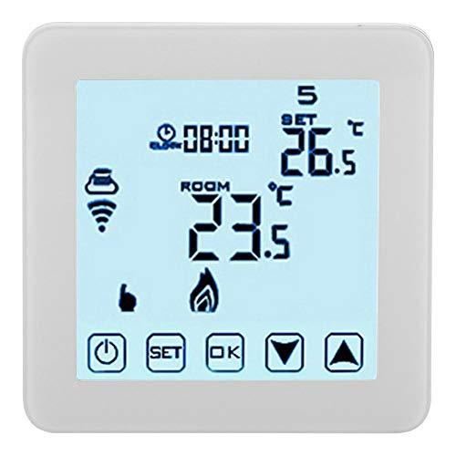 Garosa Termostato Inteligente WiFi Controlador De Temperatura Programable LCD Digital Termostatos De Calefacción Wirless (Blanco)