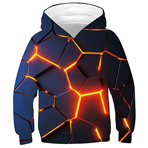 SunFocus 3D Hoodie Kids 13-14 Years Boys Girls Flame Realistic Graphic Print Long Sleeve Sweatshirt Pullover with Pocket