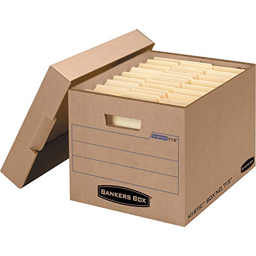 FELLOWES Manufacturing 7150001 Filing Storage Box with Locking Lid, Letter/Legal, Kraft, 25/Carton