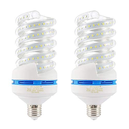 Spiral LED Light Bulb, 200W Equivalent LED Bulb,24W CFL Replacement Light Bulb, Daylight White 6000K, E26 Base, 2500 LM, Not-Dimmable, for Photo Light,Warehouse,Garage Lighting, Barn, Patio, 2 Pack