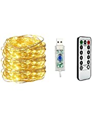 Fairy Light Waterproof Starry Firefly Copper Wire String Light,20M 200LED 8 Modes with Remote Control, for Christmas Wedding Home Decorations, Warm White