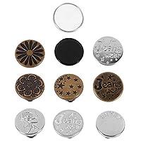 EXCEART ジーンズ用10本ネイルフリーウエストバックルパーフェクトフィットインスタントボタン縫製なし調節可能なスナップジーンズボタン交換用ヴィンテージメタルボタン(混合スタイル)