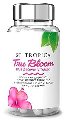 ST. TROPICA Hair Vitamins - Hair Superfood Formula to Grow Hair Fast. Helps Prevent Hair Loss & Hair Thinning. A Natural Hair Vitamin for Longer, Stronger, Thicker Hair
