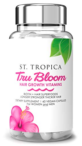 ST. TROPICA Hair Vitamins for Hair Growth Treatment - Superfood Formula Helps Prevent Hair Loss & Thinning, Proteins & Minerals for Longer, Stronger, Thicker Hair - VEGAN - 2 Month Supply - 60-Count