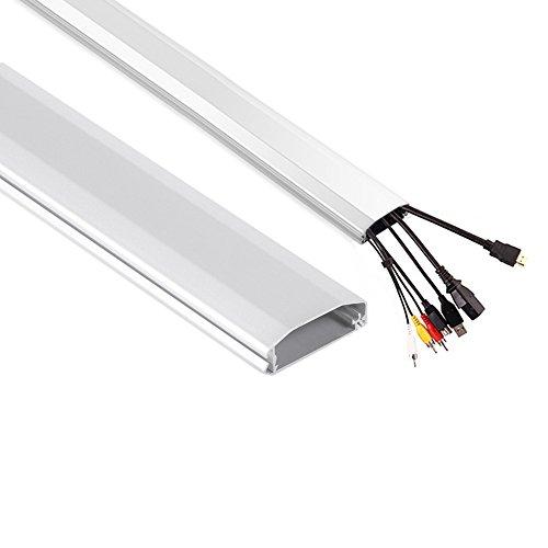 Maclean Kabelkanal 75cm Kabel Kanal Leiste Profil Aufputz Organizer Kabelführung Aluminium 60x20x750mm (Weiß)