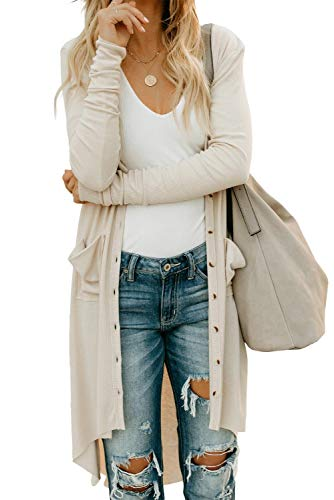 Alaster Queen Women's Open Front Lightweight Long Cardigans Fall Long Sleeved Solid Ribbed Cardigans with Pockets Apricot Outwear Large(US12-14)
