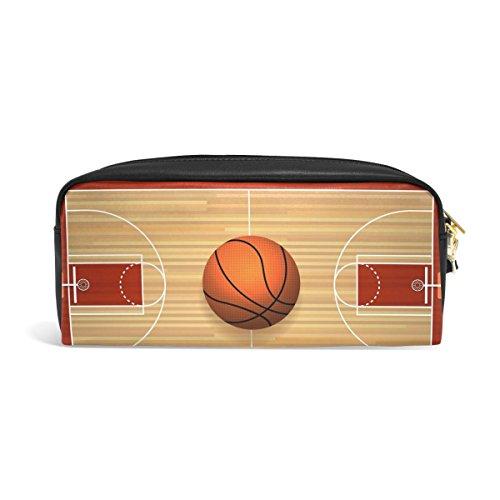 Domoko Basketball Court Boden Sport Ball PU Leder Pen Pouch Federmappe Fall Make-Up Kosmetik reisen Schule Tasche