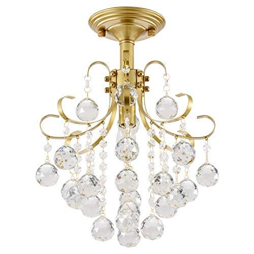 SOZOMO Crystal Chandeliers,Modern Gold Crystal Chandelier Ceiling Lights, E26 Bulb Socket Flush Mount Ceiling Light for Bedroom Living Room Dining Room Hallway Office (31.5×31.5cm/60W)