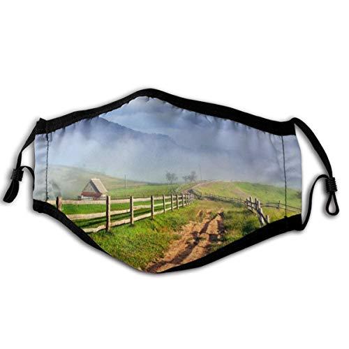 Homect Unisex-Gesichtsmaske, Rundumschutz, UV-Schutz, Halstuch, Kopfband, Landschaft, Straßen, Gras, Zaun, Wolken, Natur