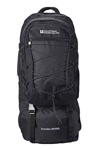 Mountain Warehouse Traveller 60 + 20L Travel Backpack - for Camping, Outdoor Rucksack with Detachable Daypack Black