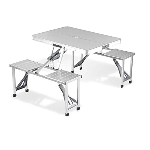 Adalantic 4-person Picnic Folding Table,Height Adjustable Table with 4 Seats Indoor Outdoor Portable Suitcase Table Game Table with Bench