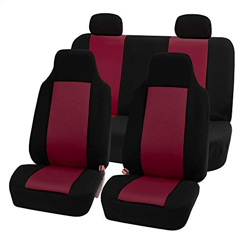 FH Group FB102BURGUNDY114-AVC FB102BURGUNDY114 Classic Full Set High Back Flat Cloth Seat Covers,…