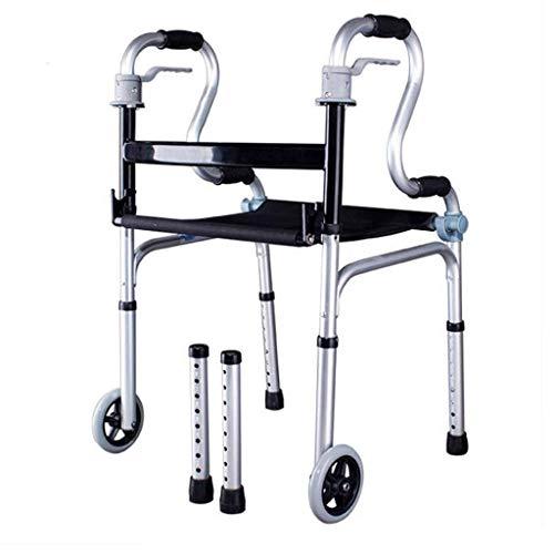 CENPEN Raggiungibile a piedi Walker Assisted Riabilitazione Formazione for gli anziani disabili a quattro punti di piegatura ruota in alluminio Telaio corrimano 51cmx55cmx80cm antiscivolo Walking Stic