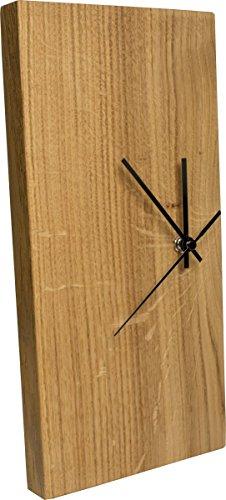 Funk-Wanduhr Eiche Massiv | Echt-Holz Uhr als Standuhr & Tisch-Uhr verwendbar | Schlicht & Modern