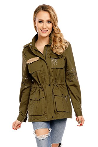 Mayaadi Damen Jacke Parka Übergangsjacke Weste Mantel Blogger Aufnäher Patches Glitzersteine NK2541 Olive XL