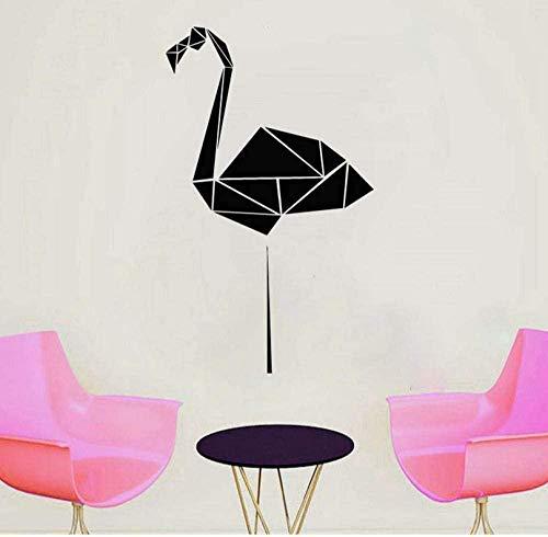 Etiqueta de la pared geométrica Flamingo etiqueta de la pared poligonal Animal vinilo adhesivo Origami pared artista decoración residencial etiqueta de la pared 58X96Cm
