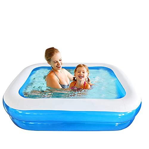 Piscina hinchable rectangular para jardín, balcón, para niños, niñas, fácil de montar, azul (128 x 85 x 45 cm)