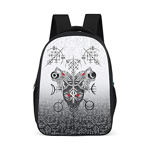 Viking Skoll&Hati Wolf Mochila para niños y adolescentes y adultos libros escolares bolsas regalos para niños y niñas
