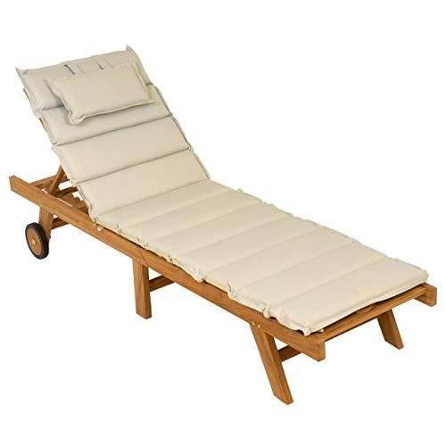 Nexos DIVERO Sonnenliege Holzliege Gartenliege klappbar Teakholz behandelt inkl. Räder Auflage Farbe wählbar (Creme)