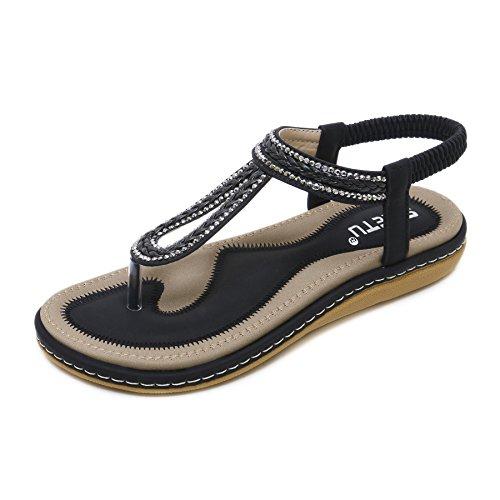 WLQWER Flache Sandalen für Damen Sommer Strass Comfort Bohemian Slip On Flip Flop Schuhe Tanga Flache Sandalen Comfort Casual Beach Schuhe,Schwarz,43