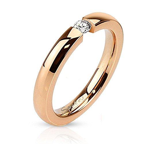 Bungsa® 57 (18.1) Ring Rosegold mit Zirkonia Kristall Stein Edelstahl hochglanzpoliert für Damen Verlobungsring (Ring Damen Fingerring Partnerringe Verlobungsringe Trauringe Damenring Chirurgenstahl)