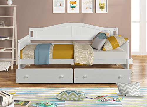 Hanway Twin Daybed with Two Drawers – Solid Pine Wood Frames – Bedroom Furnishings with Additional Storage Spaces – Durable Design for Longer Service – Stylish White Paint Coating Design