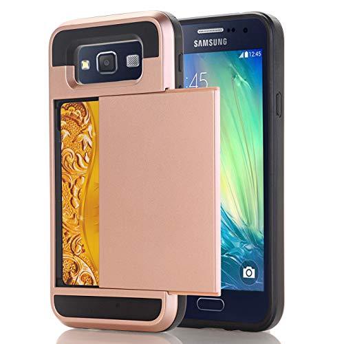 Samsung E5 Hoesje Case, slanke portemonnee kaartsleuf houder schuiven verborgen zak dubbele laag zware bescherming robuuste harde shell Hoesje Case Case voor Galaxy E5 5.0inch, Samsung E5 5.0inch, 12