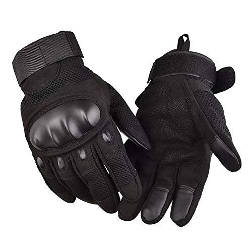 Motorradhandschuhe Sommer Herren Taktische Handschuhe Atmungsaktiv Touchscreen Vollfinger Motorcross Sport Handschuhe für Motorrad Fahrrad und Outdoor Aktivitäten(Schwarz,L)