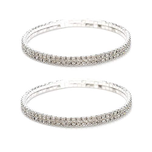 Shuning Sexy Anklets for Women Crystal Rhinestone Stretch Tennis Ankle Elastic Bracelet (2Pcs Silver)