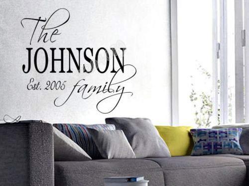 Preisvergleich Produktbild zaosan Wandaufkleber Personalisierte Familie Monogramm Name est Wandaufkleber Vinyl Abnehmbare wandkunst Aufkleber Tapete Hochwertige Wandkunst Poster 46X42 cm