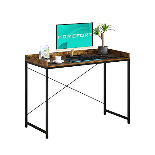 HOMEFORT 43 Inches Computer Desk, Small Writing Desk,Simple Office Table with Anti-Slide Design, Multipurpose Home Office Workstation, Industrial Student Desk with X Frame, Rustic Brown