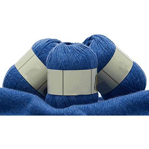 Ovillo de lana para tejer y ganchillo de 3 capas, 3 x 250 m, color violeta azulado, 3 bolas, clásico sedoso