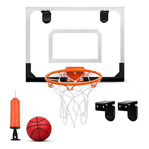 SYHSZ Mini Soporte De Baloncesto para Niños, Soporte De Baloncesto Montado En La Pared De PVC para El Hogar del Dormitorio, Soporte De Baloncesto con Baloncesto Y Bomba De Aire,Blanco