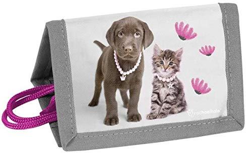 Kinder Geldbörse Portemonnaie Geldbeutel Jungen Mädchen Börse Brustbeutel (Grau Hund + Katze)