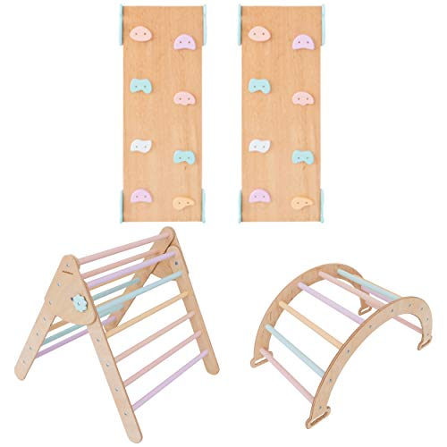 Pikler Triangle for Kids Toddlers Rock with 2 ramp - Learning Waldorf Climbing Toys - Arch Toy for Toddler - Structure Pickler Rocking N.Wood+Varicoloured (Small Size)