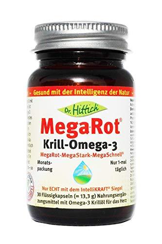 Dr. Hittich Mega-Rot® Krill-Omega-3 - 30 Kapseln - Krillöl der neuen Generation für eine optimale Herzgesundheit - Hochdosierte Omega-3 Fettsäuren