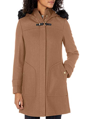 Cole Haan Women's Wool Duffle Coat with Faux Fur Trimmed Hood, Camel, 4
