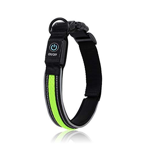 Collar luminoso LED para perros, recargable por USB/impermeable, de nailon, para perros, 3 modos de iluminación, impermeable y resistente a la intemperie (verde, largo)