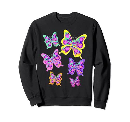 Cute Colorful Mod Mariposas Hippie Retro Resumen Sudadera