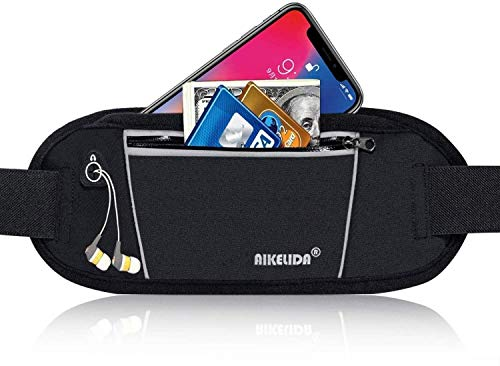 Price comparison product image AIKELIDA Running Belt Fanny Pack - Runners Belt Waist Pack Fitness Gear Accessories - Running Pouch iPhone Xr Xs Max X 8 7 Plus for Women Men - Black