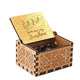 Yanhonin Nostalgie Musik-Box mit Kurbel aus Holz – Tu ES Mon Soleil – Geschenk für Valentinstag und Geburtstag A.