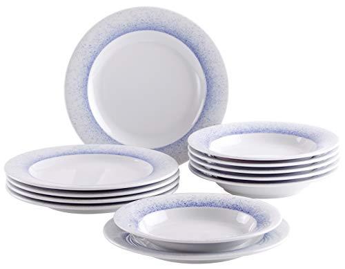 Kahla 630190O75005C Wir Machen Blau! Tafelservice Tellerset für 6 Personen weißblau Teller rund 12-teilig Suppenteller 25 cm großer Speiseteller 28 cm