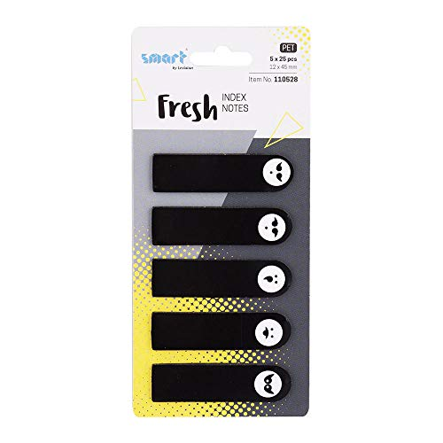 Smart Fresh plakstrip Pagemarker Index marker film tekststrepen PET-folie 12x45mm 5x25 stuks strepen zwarte emotie