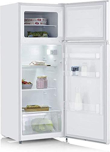 SEVERIN Réfrigérateur Congélateur 2 portes, Pose libre, Longueur 55 cm, 206 litres, Classe E, Veggibox incluse, Blanc, DT 8760