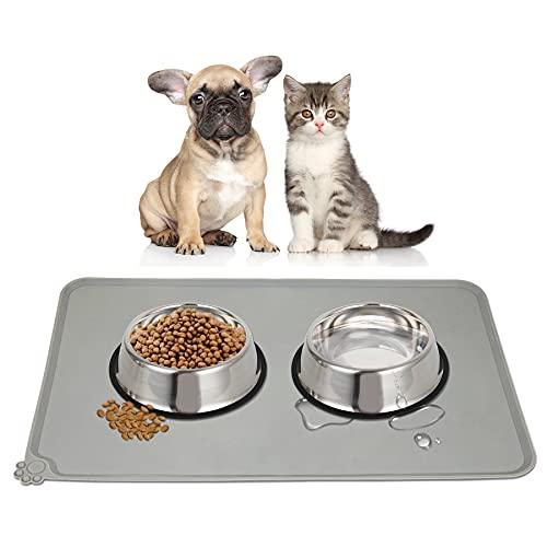 HANGOU Hunde- und Katzenfuttermatte, Silikon rutschfeste Futternapfmatte Futtermatte für Haustiere wasserdichte Hundematte mit Erhöhtem Rand Futtermatte für Haustiere (Grau)