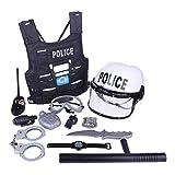 Macium 11 Pièces Police Deguisement Enfant Policier Costume Accessoires Police Menottes Porte Carte Lunettes Walkie Talkie Police Jouet pour Enfant Garçon Halloween Carnaval Party