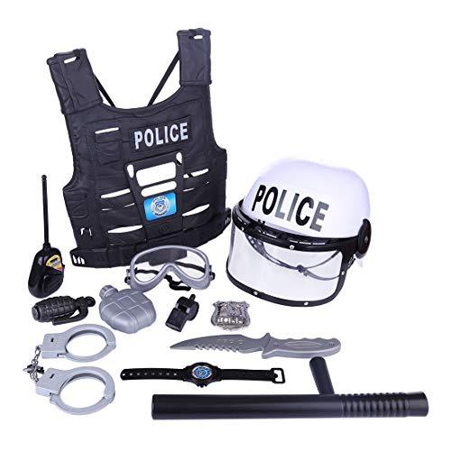 Lommer Polizei Spielzeug, 11 Stücke Kinder Polizei Kostüme Polizei Rollenspiel Set für Swat, FBI, Detektiv, Halloween oder Weihnachts Geschenk