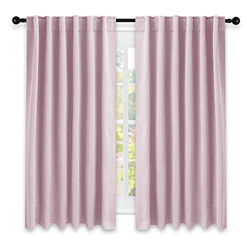 NICETOWN Bedroom Draperies Blackout Curtain Panels - (Lavender Pink/Baby Pink Color) 52 x 63 inches, Set of 2 Panels, Solid Room Darkening Blackout Drapes for Living Room