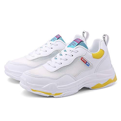 Women's sneakers vrouwen sport outdoor schoenen Strada schoenen comfortabel ademend Walking Fitness Shoes Correnti (kleur: geel, maat: 23.5)