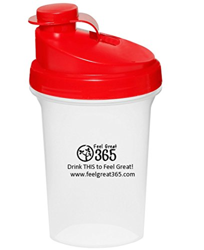 Feel Great 365 Premium Quality Superfood BPA Free Plastic, Shaker Bottle with Powder Filter, 16 oz.